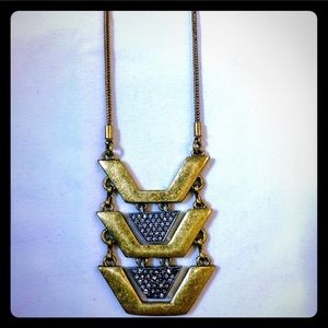 J. Crew gold tiered statement long necklace